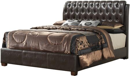 G1550C-QB-UP Queen Size Panel Bed with Button Tufted Headboard  High Grade Polyurethane Cover and Wood Veneer Construction in Cherry