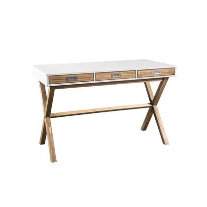 CS92308 Rustic Mid-Century Modern 3-Drawer Barclay Home Office Desk In White And Natural