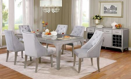 Diocles Collection CM3020T6SCSV 8-Piece Dining Room Set with Rectangular Table  6 Side Chairs and Server in