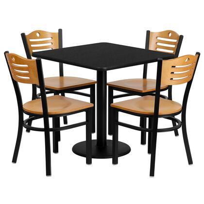 MD-0010-GG 30'' Square Black Laminate Table Set with Wood Slat Back Metal Chair and Natural Wood Seat Seats