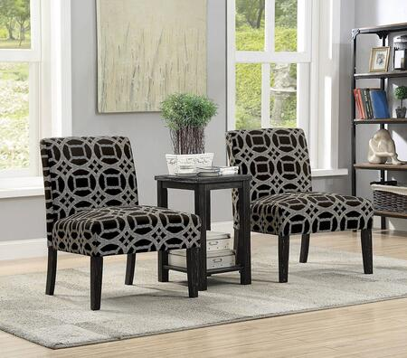 Fortuna Collection CM-AC6375-3PK 3-Piece Accent Chair and Table Set with Padded Fabric Seats and Wood Frame Construction in Black and