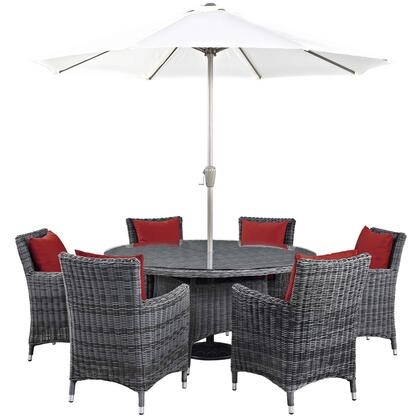 Summon Collection EEI-2329-GRY-RED-SET 8 PC Outdoor Patio Sunbrella Dining Set with Round Dining Table  6 Armchairs  Umbrella and Pole in Canvas Red