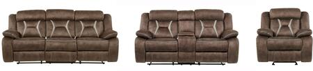U0070-RSCRLSGR 3-Piece Living Room Set with Reclining Sofa  Reclining Loveseat and Recliner in Sultry Dark Brown and Sultry