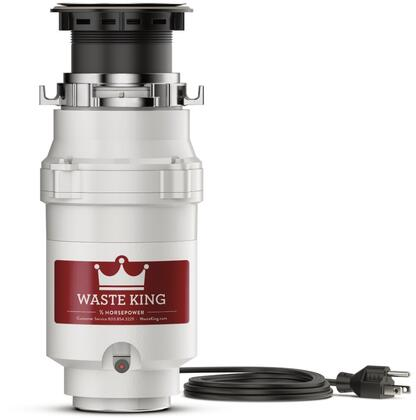 "L-1001 6"" Legend Series Waste Disposer with 1/2 HP Continuous Feed 2 Year Warranty Stainless Steel Grinding Components and 2600 RPM High Speed"