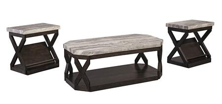 T568-13 Radilyn Occasional Table Set of 3 Tables with 1 Cocktail Table and 2 End Tables with Bottom Shelf in Greyish