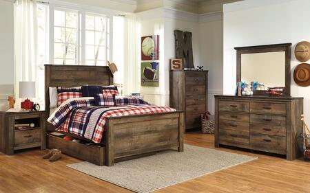 Trinell Full Bedroom Set with Panel Bed with Trundle  Dresser  Mirror  Nightstand and Chest in
