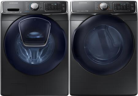 Black Stainless Steel Front-Load Laundry Pair with WF50K7500AV 27