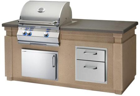 Aurora Outdoor Kitchen Island Package with A430I6EAN Natural Gas Analog Thermometer Grill  53802 Double Drawer  33914SL Left Hinge Horizontal Access Door and