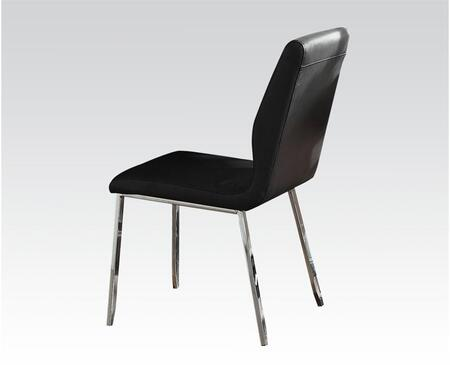 Prisca Collection 71007 18 inch  Side Chair with PU Leather Upholstered Seat and Back  Polished Metal Legs and Stitched Detailing in Black