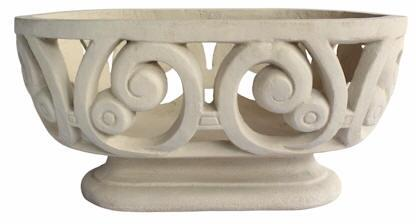 Milano Collection PL-V2311 23 Oval Planter with Limestone Construction  Elegant Details and Traditional Style in Natural