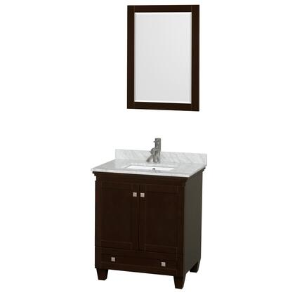 WCV800030SESCMUNSM24 30 in. Single Bathroom Vanity in Espresso  White Carrera Marble Countertop  Undermount Square Sink  and 24 in.