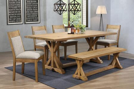 Douglas Collection 107221-S612 6-Piece Dining Room Set with Rectangular Dining Table  4 Side Chairs and Bench in Vintage White Oak