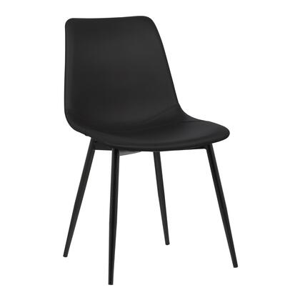 Monte Collection LCMOCHBLACK Contemporary Dining Chair in Black Faux Leather with Black Powder Coated Metal