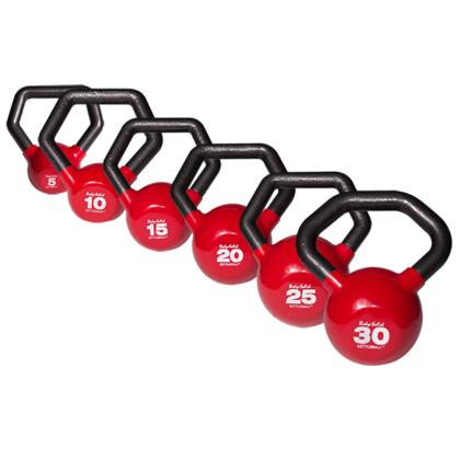 KBLS105 Cast Iron Kettleball with Angled Handle and Vinyl Coating Set (Includes 5 lbs.  10 lbs.  15 lbs.  20 lbs.  25 lbs.  and 30