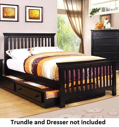 Caspian Collection CM7920BK-F-BED Full Size Bed with Slatted Headboard and Footboard  Rectangular Shape and Solid Wood Construction in