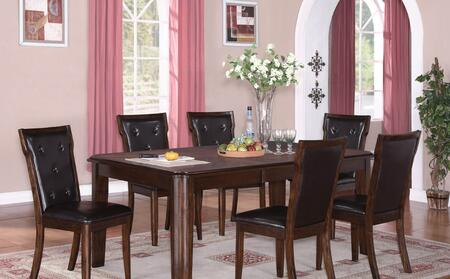 Pam PAMTAB4CHR Dining Set Including Dining Table and 4 Chairs with Carved Detailing  Button Tufted Upholstery and Tapered