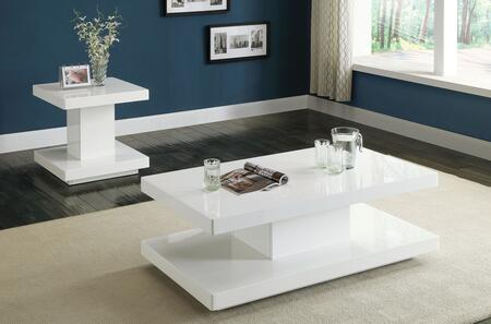 Imena 80728CET 2 PC Living Room Table Set with Coffee Table + End Table in White