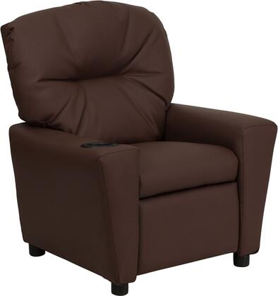 Contemporary Brown Leather Kids Recliner with Cup Holder BT-7950-KID-BRN-LEA-GG by Flash Furniture