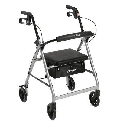 r726sl Walker Rollator With 6 Wheels  Fold Up Removable Back Support And Padded Seat