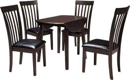 Hammis Collection 5-Piece Dining Room Set with Round Dining Table and 4 Side Chairs in Dark