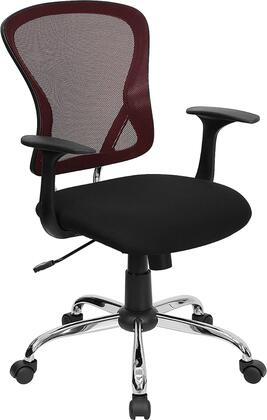 H-8369F-BG-GG Mid-Back Burgundy Mesh Office Chair with Black Fabric Seat and Chrome Finished