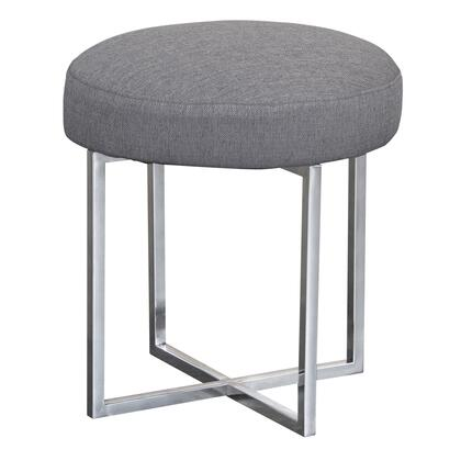 Rory Collection LCRYOTGR Contemporary Ottoman in Polished Stainless Steel Finish Base and Grey