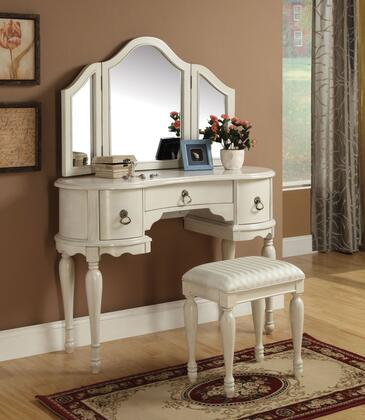 Trini 90024SET Vanity Set with Vanity and Stool + Mirror in White
