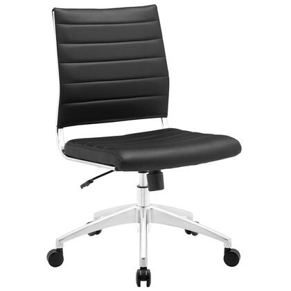 Jive Collection EEI-1525-BLK Armless Office Chair with 5-Caster Dual Wheel Base  Mid-Back Chrome-Plated Aluminum Frame  Tilt Lock Tension Control  Adjustable
