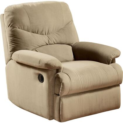 Arcadia Collection 00626 Recliner with Plush Padded Pillow Arms  Split Back Cushion  Metal Reclining Mechanism and Microfiber Upholstery in Beige
