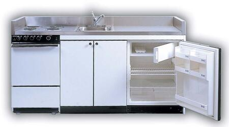 ROE9Y96 96 inch  Full Feature Kitchenettes Compact Kitchen with Stainless Steel Countertop  4 Electric Burners  Oven  Sink and 24 inch  12 cu. ft. Upright Refrigerator