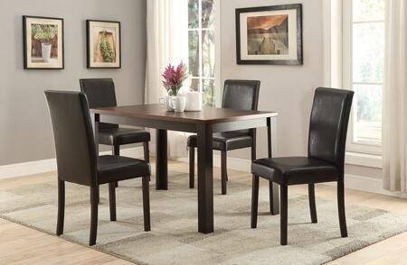 Kylan Collection 71800 5 PC Dining Room Set with PU Leather Upholstered Chairs  Paper Veneer Top  Chinese Hardwood Materials and Medium-Density Fiberboard