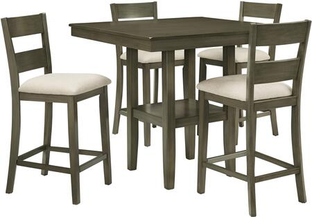 Loft Collection 13102 5-Piece Dining Room Set with Square Counter Height Table and 4 Chairs in