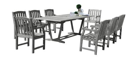 V1294SET14 Renaissance Outdoor 9-Piece Hand-Scraped Wood Patio Dining Set With Extension