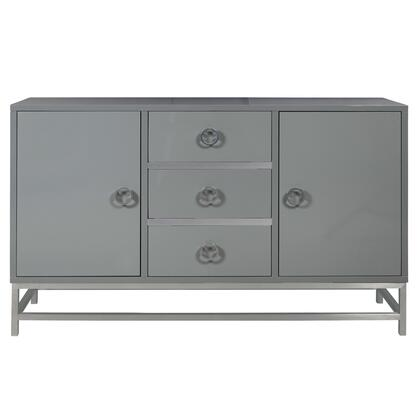 D153114 High Gloss Grey Modern Three Drawer Wine Console