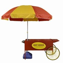 3090080 Hot Dog Cart with Red and Yellow Umbrella and Blue