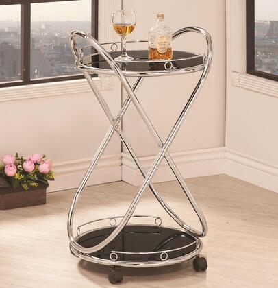 910074 Modern Rolling Serving Cart with Chrome Ledge  Dark Tempered Glass Top and Caster Wheeles in Chrome