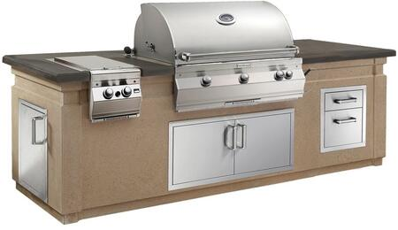 Aurora Outdoor Kitchen Island Package with A790I6EAN Natural Gas Analog Thermostat Grill  3281L Sideburner  53802 Double Drawer  33938S Double Access Door and
