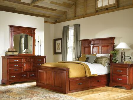KALRM5031Q4P Kalispell 4-Piece Bedroom Set with Queen Sized Mantel Storage Bed  Dresser  Mirror and Single