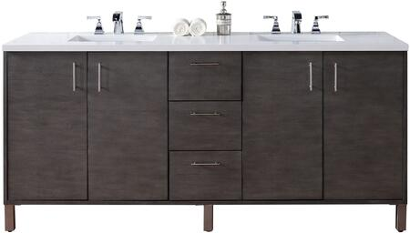 Metropolitan Collection 850-V72-SOK-3SNW 72 inch  Silver Oak Double Vanity with Four Soft Close Doors  Three Soft Close Drawers  Chrome Hardware and 3 CM Snow White