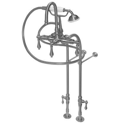 F200C-SN 200 Series Bathtub Faucet  30 inch  Floor Mount Supply Lines  Hand Shower & 5 Metal Lever Handles: Satin