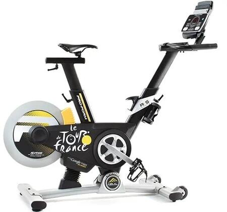 PFEX09916 Tour De France Studio Bike with 15% incline and 15% Decline Capability  Ergonomic Padded Seat  Adjustable Handlebars and Dual 3 lb