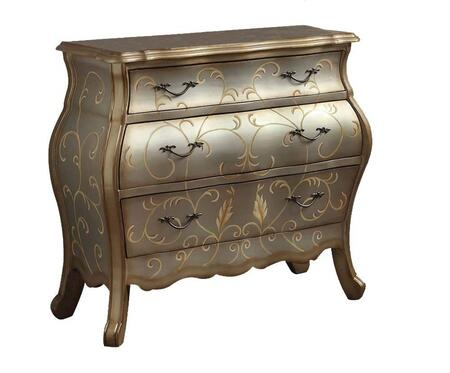 Vanas Collection 90109 Bombay Chest with 3 Drawers  Leaf Design  Decorative Metal Hardware and Moldings Details in Silver