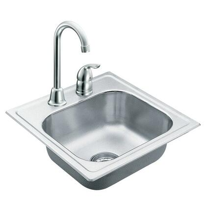 2000 Series TG2045622 Single Basin Drop Sink and Faucet with 20 Gauge Stainless Steel Construction  SoundSHIELD Technology  and Strainer Basket and U-Channel