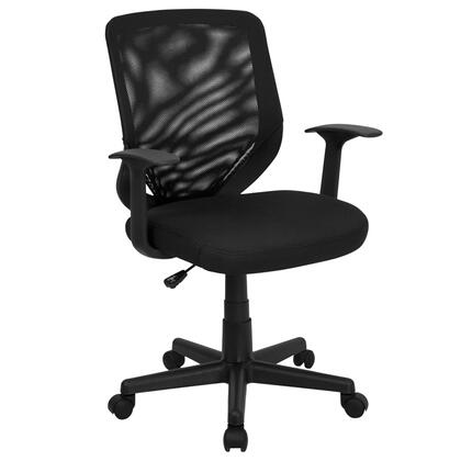 LF-W-95A-BK-GG Mid-Back Black Mesh Office Chair with Mesh Fabric