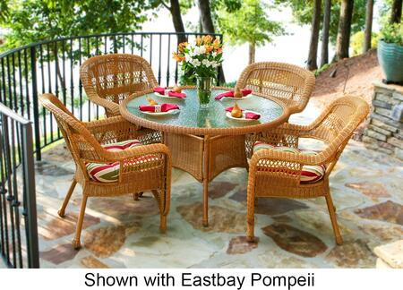 Portside PSD-AM MCHAM 5-Piece Dining Set with Round Table and 4 Chairs in Amber with Miranda Terrace Chamomile