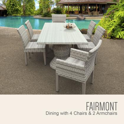 Fairmont-rectangle-kit-4adc2dc Fairmont Rectangular Outdoor Patio Dining Table With 4 Armless Chairs And 2 Chairs W/