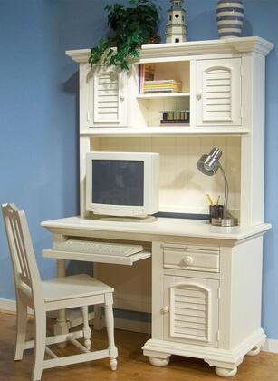 Cottage Traditions 6510-342-546-CH Desk and Hutch Set with Chair in Eggshell