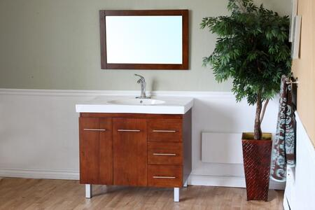 203129 Collection 203129WLSET 2 PC Vanity Set with White Ceramic Countertop Single Sink Vanity and Mirror in Walnut