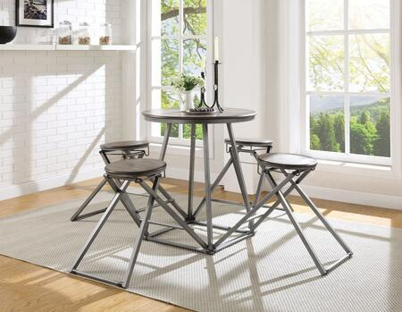 Blaze Collection 70110 5 PC Counter Height Set with 4 Armless Wooden Stools  Round Wood Top Table  Engineered Wood Material and Metal Base in Grey Oak and