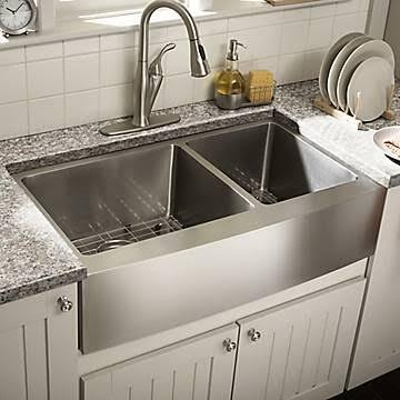 SCAPS604016 All-in-One Apron Front Undermount Stainless Steel 31x19x10 0-Hole Double Bowl Kitchen